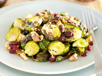 Roasted Brussels Sprouts with Walnuts, Cranberries and Balsamic Glaze