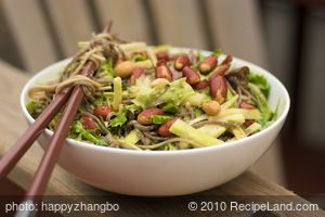 Asian Sesame Soba Noodles with Cucumber, Bok Choy, and Mixed Greens