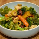 Mediterranean Broccoli and Cauliflower Salad