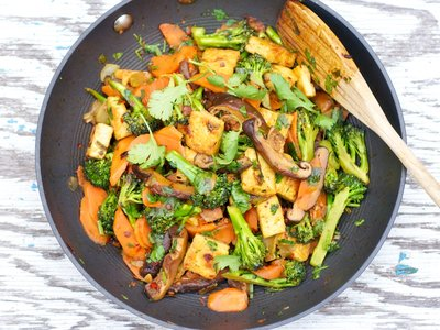 Sichuan Broccoli, Tofu, and Carrot Stir-Fry