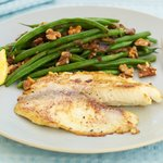 Simply Seared Tilapia with Green Beans and Toasted Walnuts