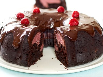 Chocolate Fudge Bundt Cake with Raspberry-Cream Cheese Filling and Chocolate Ganache