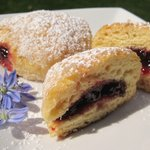 Raspberry Jam-Filled Baked Biscuit Dough Donuts