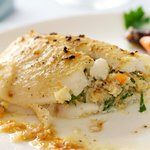 Delicately flavored crab stuffed between fillets of buttery and flaky Dover sole.