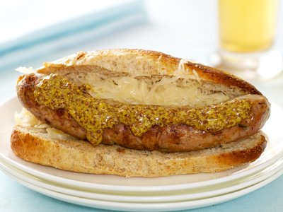 BBQ Sausage with Mustard and Sauerkraut