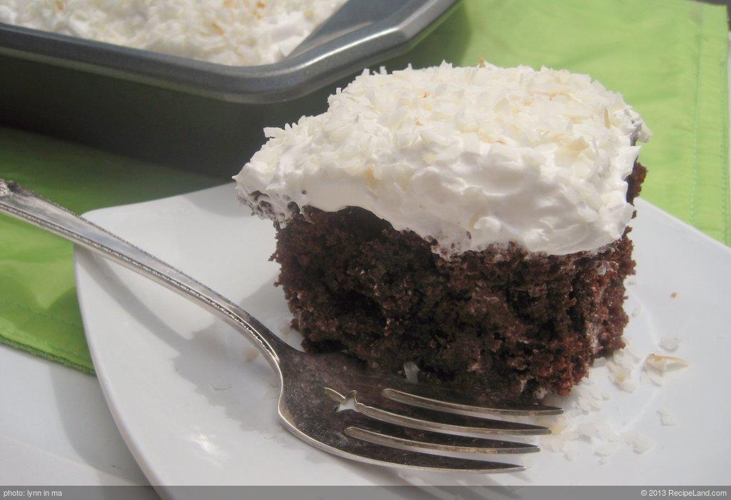 Coconut-Chocolate Poke Cake