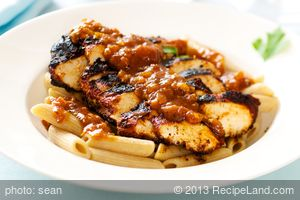 Blackened Chicken Strips on Pasta with Cajun Sauce