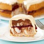 Chocolate Marbled Angel Food Cake with Coffee Cream and Raspberry Jam