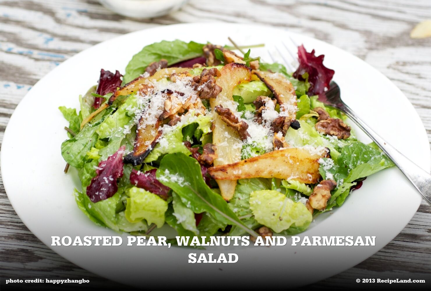 Roasted Pear, Walnuts and Parmesan Salad