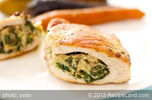 Spinach, Mozzarella and Pine Nuts Stuffed Pork Chops