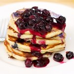 Whole Wheat Blueberry Yogurt Pancakes with Blueberry Sauce
