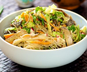 Asian Noodle, Cucumber and Lettuce with Peanut Sauce