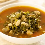 White Bean Soup with Broccoli Rabe and Kale