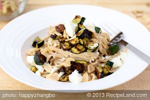 Creamy Pasta With Roasted Zucchini, Almond and Basil