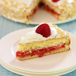It's super light, only 1/2 cup flour in the entire cake.