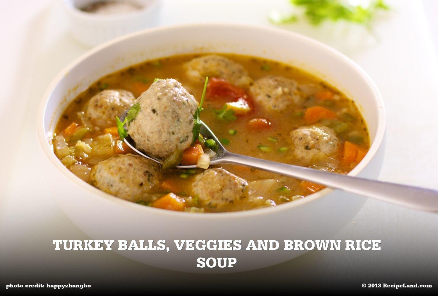 Turkey Balls, Veggies and Brown Rice Soup