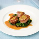 Prosciutto Wrapped Scallops with Citrus Baby Spinach