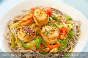Pan Seared Scallops and Fennel Over Soba Noodles