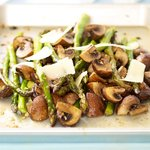 Roasted Asparagus with Mushrooms and Parmesan