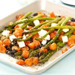 Roasted Asparagus with Cherry Tomatoes, Olives and Feta