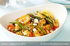 Mediterranean Asparagus Shrimp with Pasta