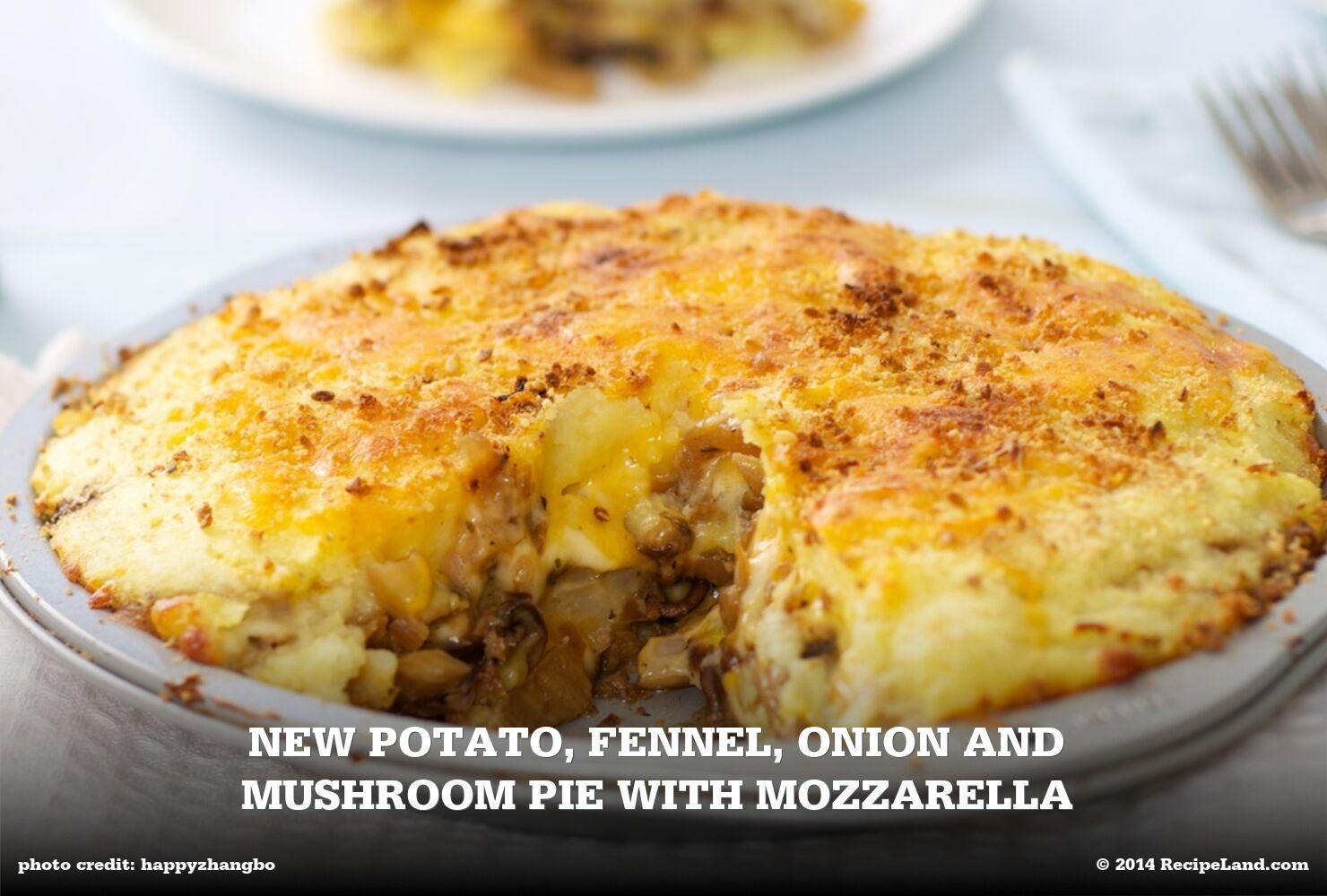 New Potato, Fennel, Onion and Mushroom Pie with Mozzarella