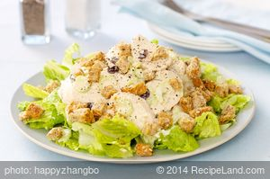 Chicken Salad with Lemon, Raisins and Croutons