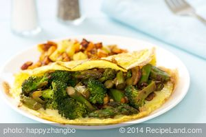 Asparagus, Broccoli, and Mushroom Omelette