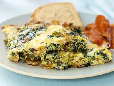 Brussels Sprouts, Kale and Bell Pepper Frittata