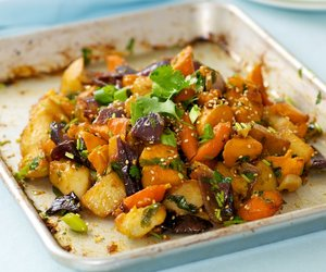 Garlic, Ginger and Soy Roasted Potato, Sweet Potato and Red Onion