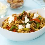 Asparagus, Mushroom, and Sweet Bell Pepper Pasta with Goat Cheese