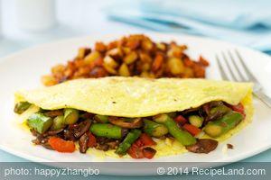 Aspragus, Bell Pepper and Mushroom Omelette