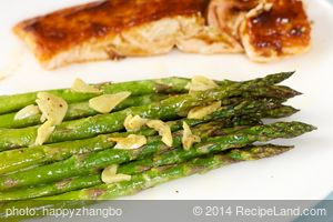 Garlicky Roasted Asparagus with Lemon Mustard Dressing