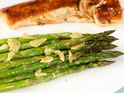 Garlicky Roasted Asparagus with Lemon Mustard Dressing