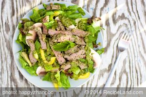 Warm Lamb Salad with Mixed Greens