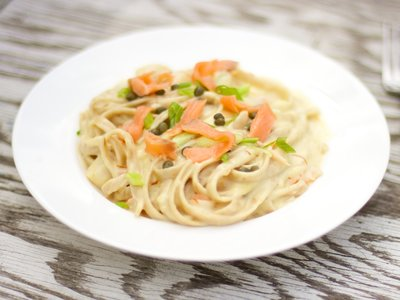 Scallop and Smoked Salmon Pasta