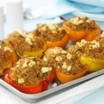 Quinoa, Sun-dried Tomato and Feta Stuffed Bell Peppers