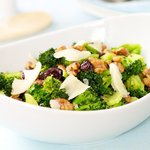 Warm Brocoli Salad with Walnuts, Cranberry and Parmesan