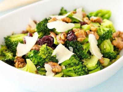 Warm Brocoli Salad with Walnuts, Cranberry and Parmesan