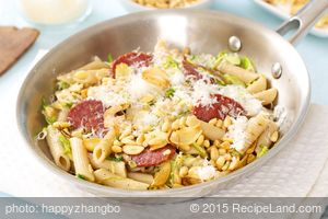 Brussels Sprouts and Salami Pasta with Pine Nuts