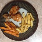 Baked BBQ chicken w/ sweet potato fries