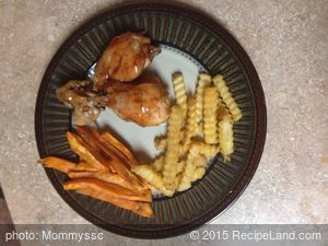 Baked BBQ chicken w/ sweet potato fries