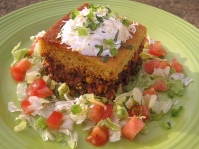 Green Chili Tamale Pie with Cheddar Cornmeal Crust