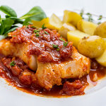 Baked cod with salsa