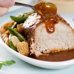 Asian pork roast with sauce