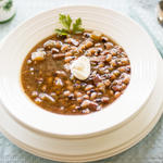Congressional Bean Soup with a dollop of sour cream