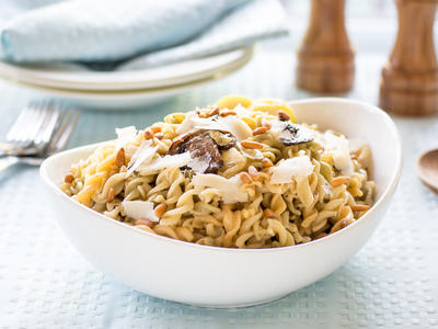 Roasted Mushrooms, Garlic and Pine Nuts with Pasta