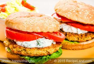 Chickpea Burgers and Tahini Sauce