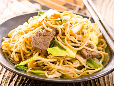 Stir Fry Beef and Bok Choy with Noodles