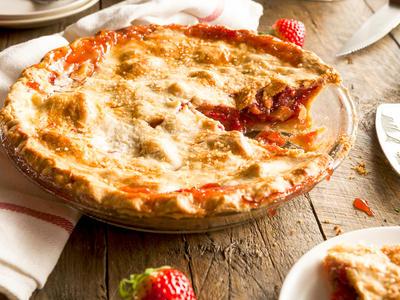 Favorite Glazed Strawberry-Rhubarb Pie
